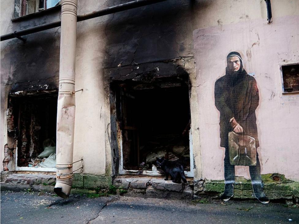 ВПетербурге появилось граффити сПавленским, «поджигающим» Лиговский проспект